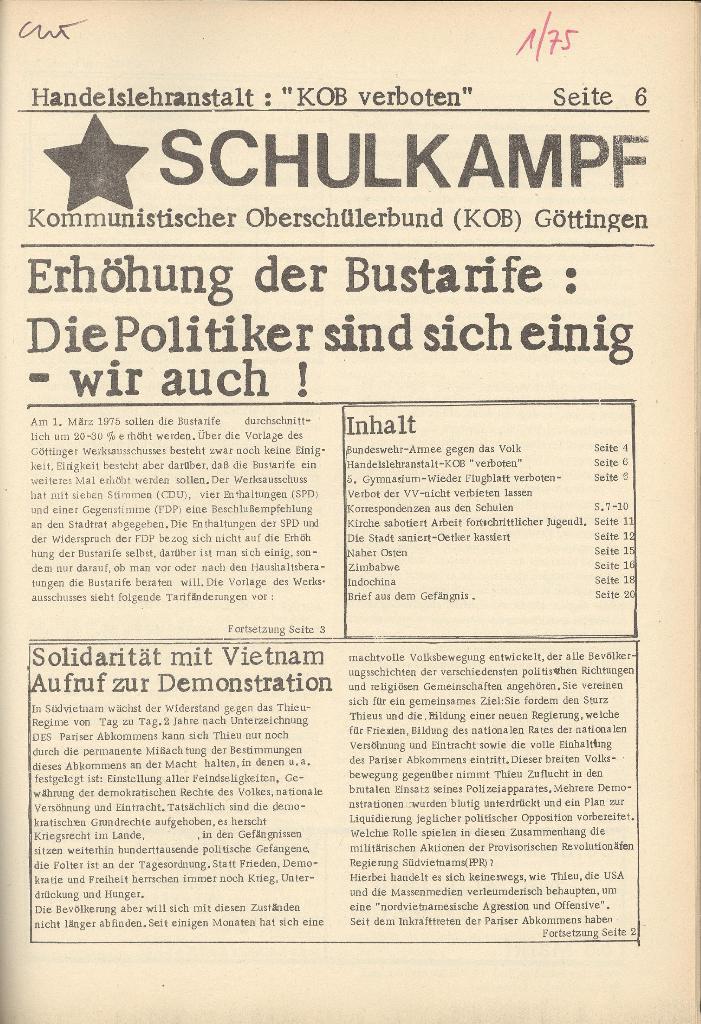 Organ des KOB Göttingen, Nr. 1, 1975, Seite 1