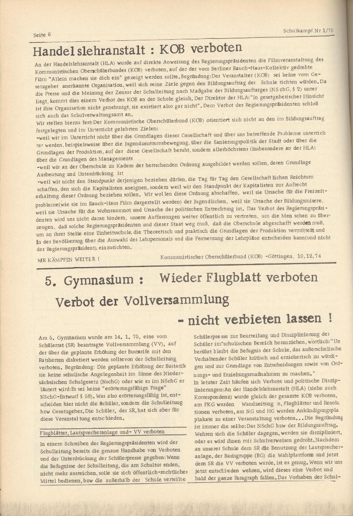 Organ des KOB Göttingen, Nr. 1, 1975, Seite 6