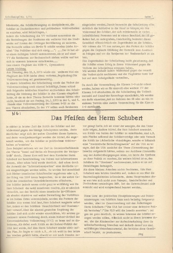 Organ des KOB Göttingen, Nr. 1, 1975, Seite 7