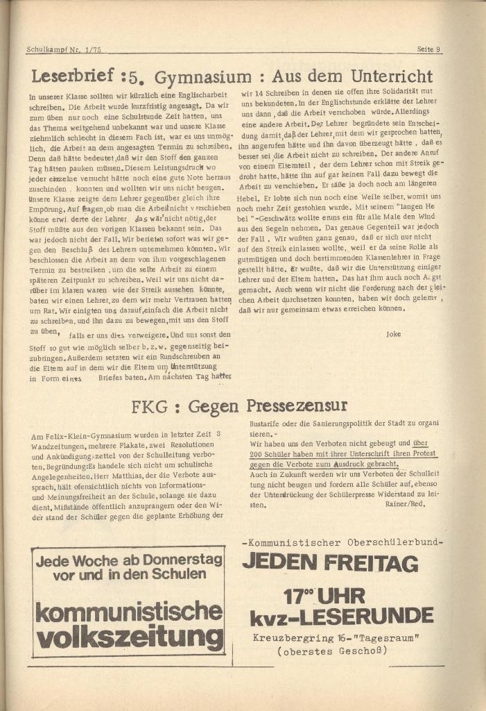 Organ des KOB Göttingen, Nr. 1, 1975, Seite 9