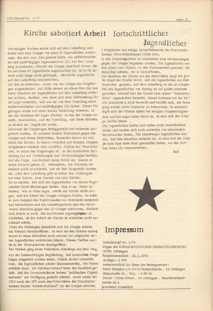 Organ des KOB Göttingen, Nr. 1, 1975, Seite 11