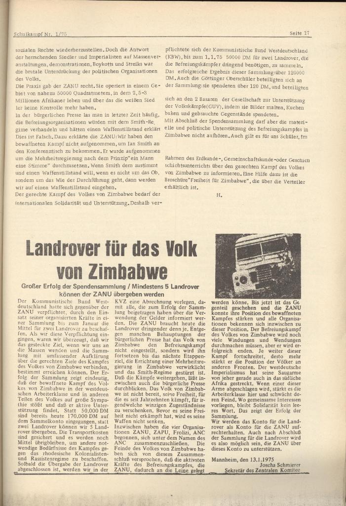 Organ des KOB Göttingen, Nr. 1, 1975, Seite 17