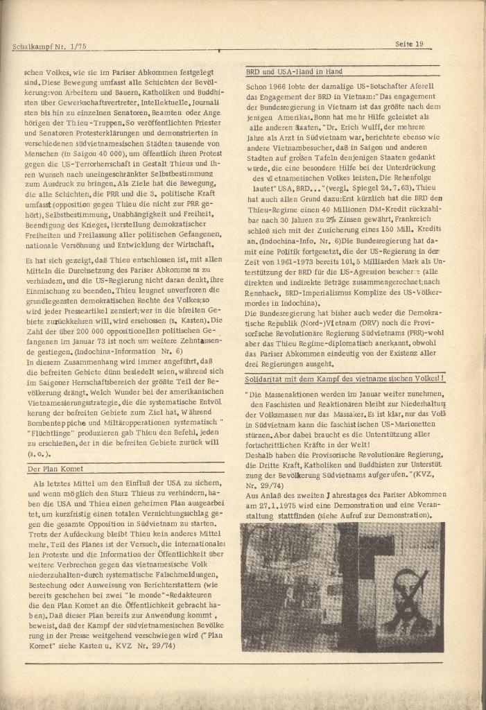 Organ des KOB Göttingen, Nr. 1, 1975, Seite 19
