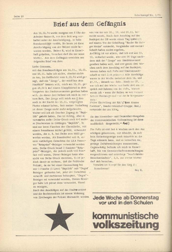 Organ des KOB Göttingen, Nr. 1, 1975, Seite 20