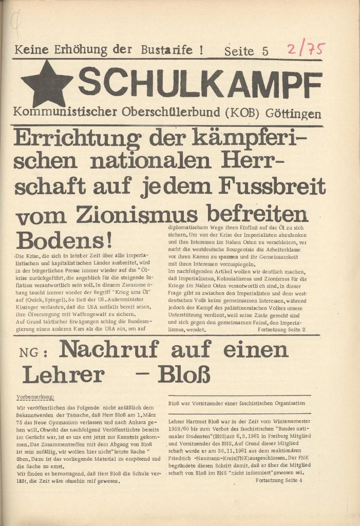 Organ des KOB Göttingen, Nr. 2, 1975, Seite 1
