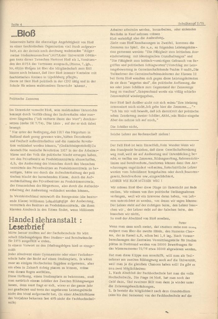 Organ des KOB Göttingen, Nr. 2, 1975, Seite 4