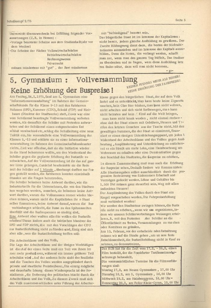Organ des KOB Göttingen, Nr. 2, 1975, Seite 5