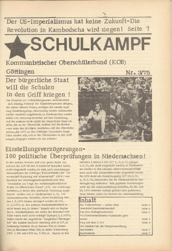Organ des KOB Göttingen, Nr. 3, 1975, Seite 1