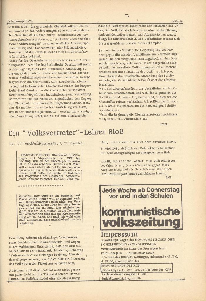 Organ des KOB Göttingen, Nr. 3, 1975, Seite 3