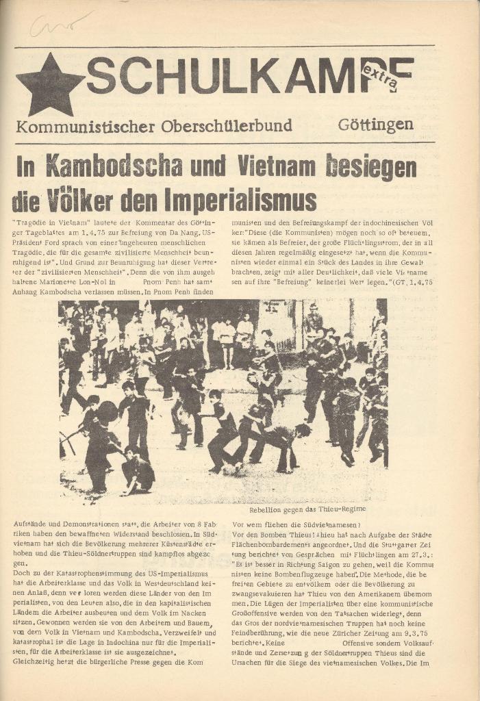 Organ des KOB Göttingen, Extra, Kambodscha und Vietnam, 1975, Seite 1