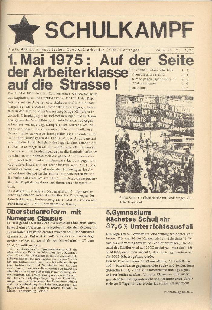 Organ des KOB Göttingen, Nr. 4, 1975, Seite 1
