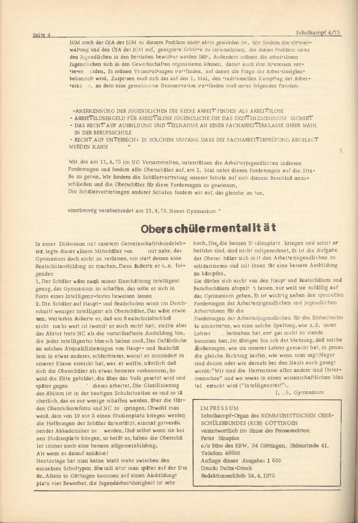 Organ des KOB Göttingen, Nr. 4, 1975, Seite 4