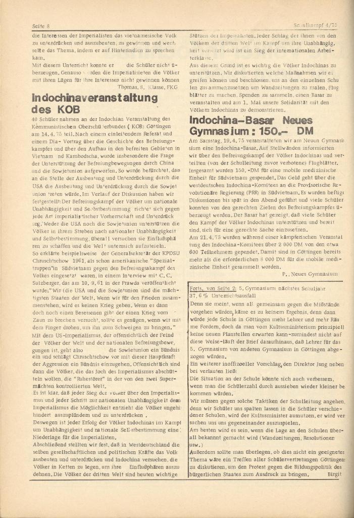 Organ des KOB Göttingen, Nr. 4, 1975, Seite 8