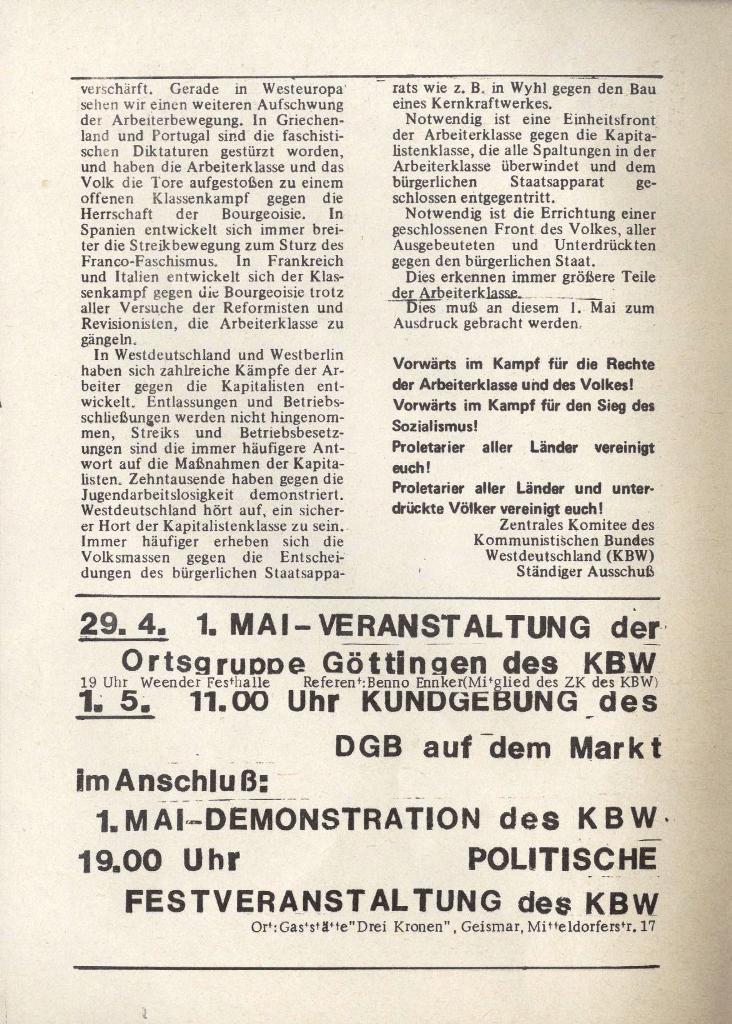 Organ des KOB Göttingen, Extra zum 1. Mai 1975, Seite 2