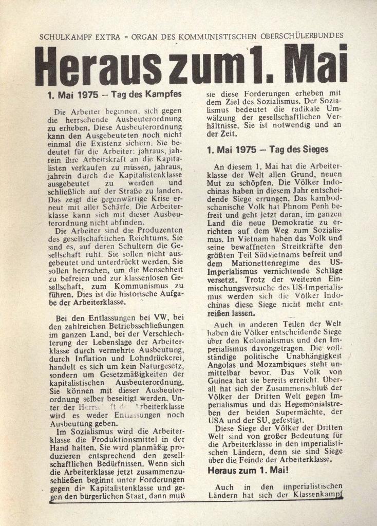 Organ des KOB Göttingen, Extra zum 1. Mai 1975, Seite 1