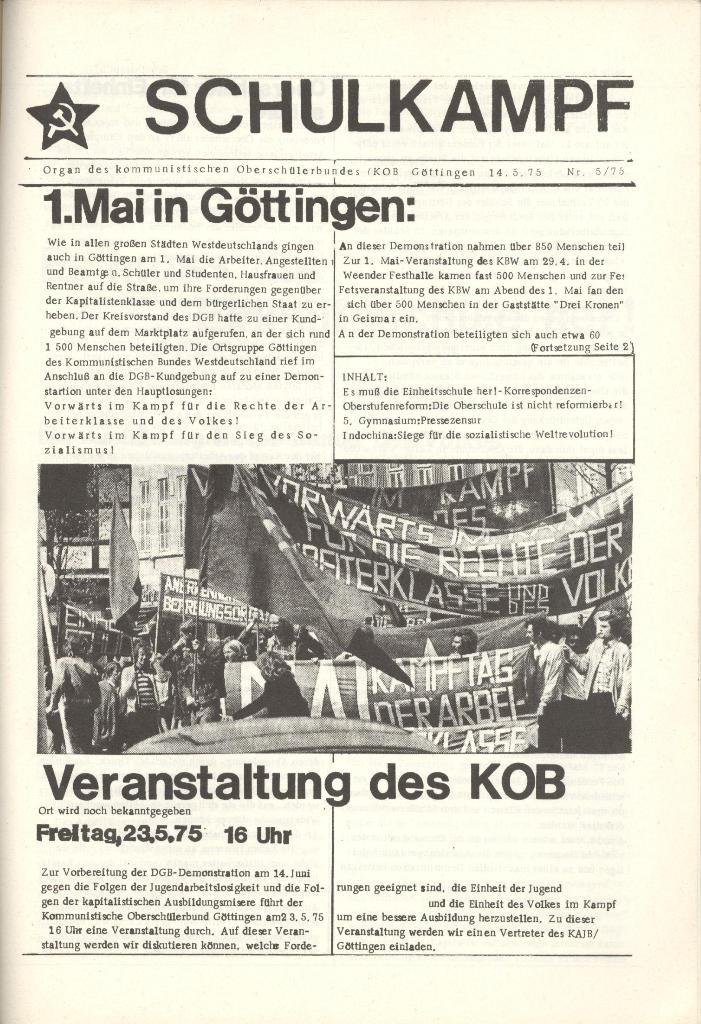 Organ des KOB Göttingen, Nr. 5, 1975, Seite 1