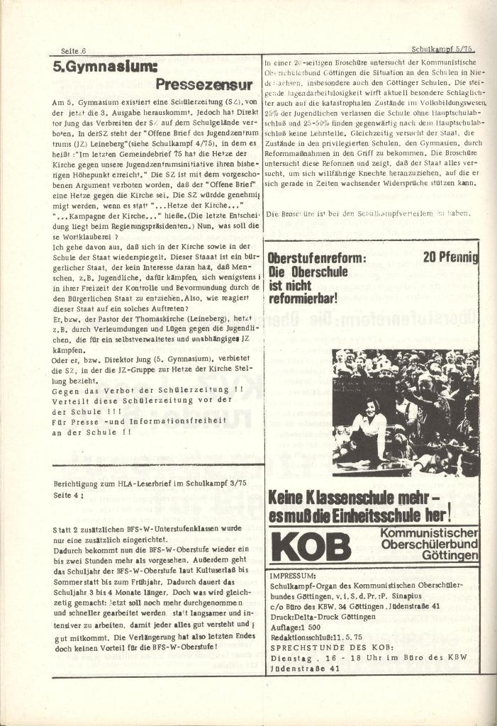 Organ des KOB Göttingen, Nr. 5, 1975, Seite 6