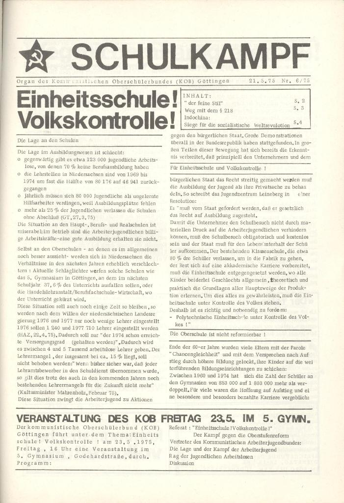 Organ des KOB Göttingen, Nr. 6, 1975, Seite 1