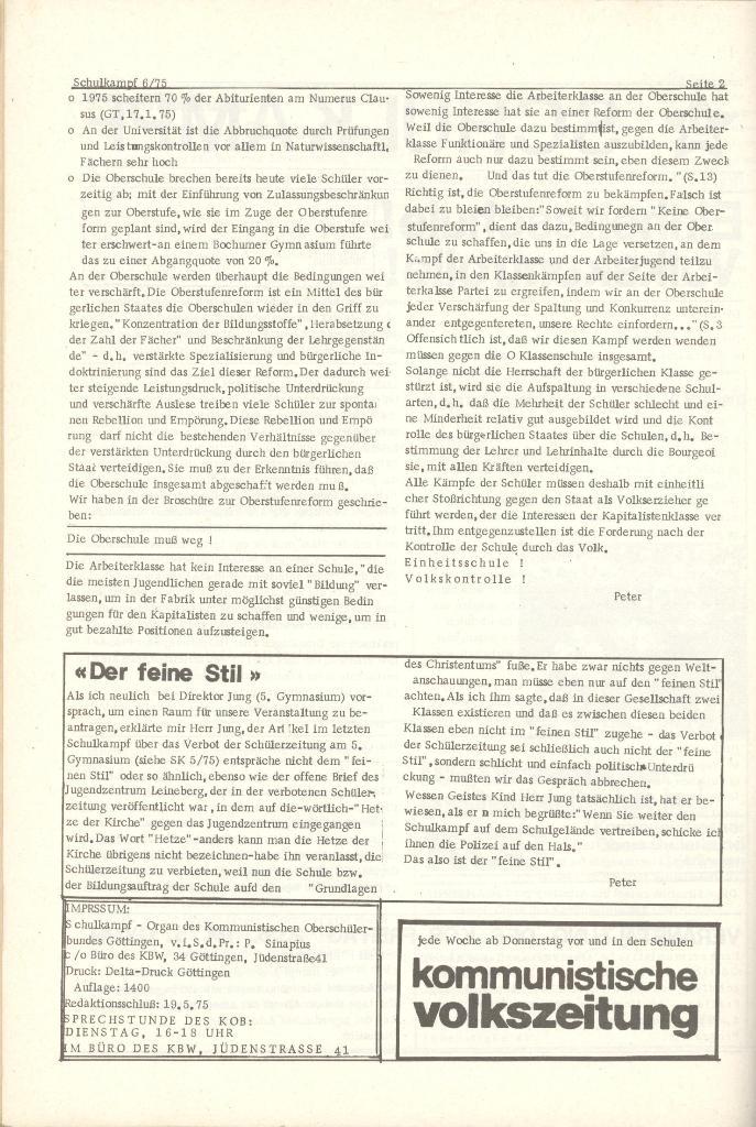 Organ des KOB Göttingen, Nr. 6, 1975, Seite 2