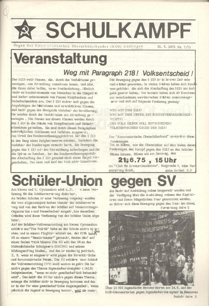 Organ des KOB Göttingen, Nr. 7, 1975, Seite 1