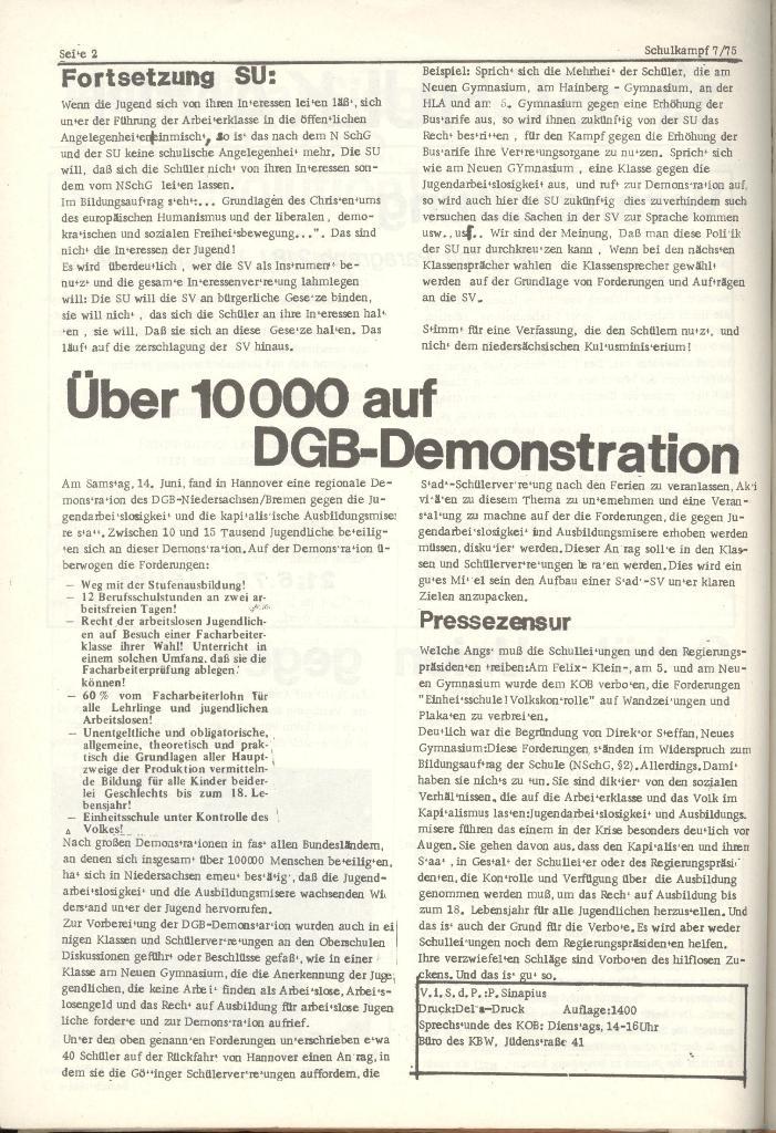 Organ des KOB Göttingen, Nr. 7, 1975, Seite 2