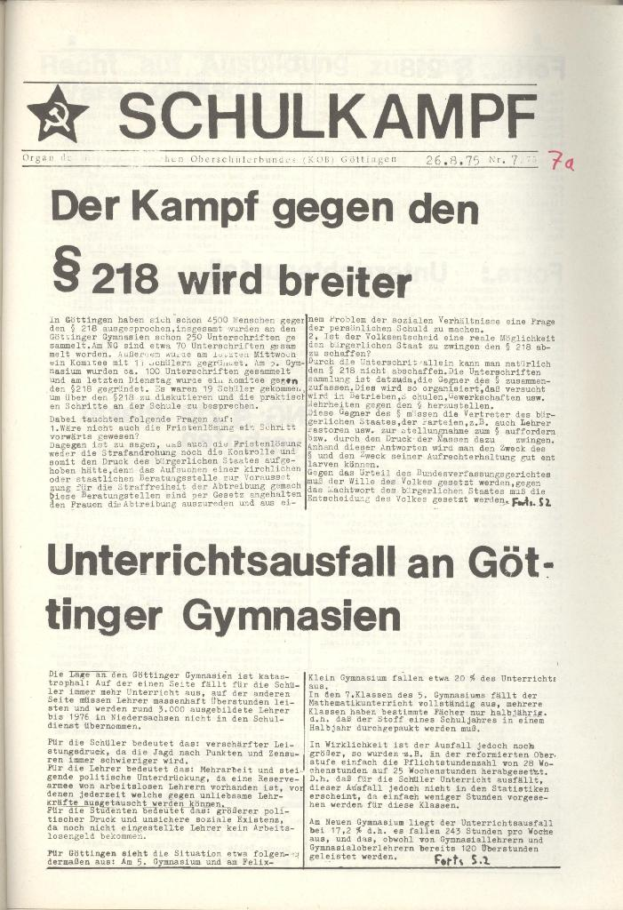 Organ des KOB Göttingen, Nr. 7a, 1975, Seite 1