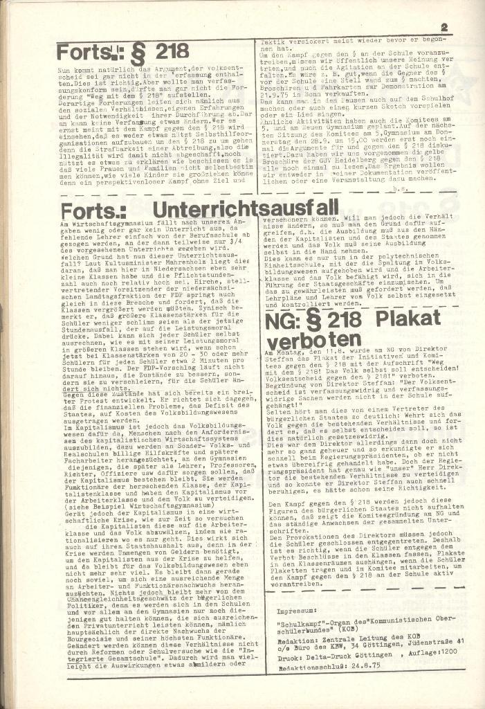 Organ des KOB Göttingen, Nr. 7a, 1975, Seite 2