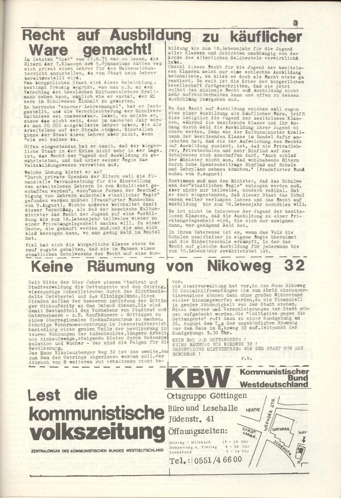 Organ des KOB Göttingen, Nr. 7a, 1975, Seite 3