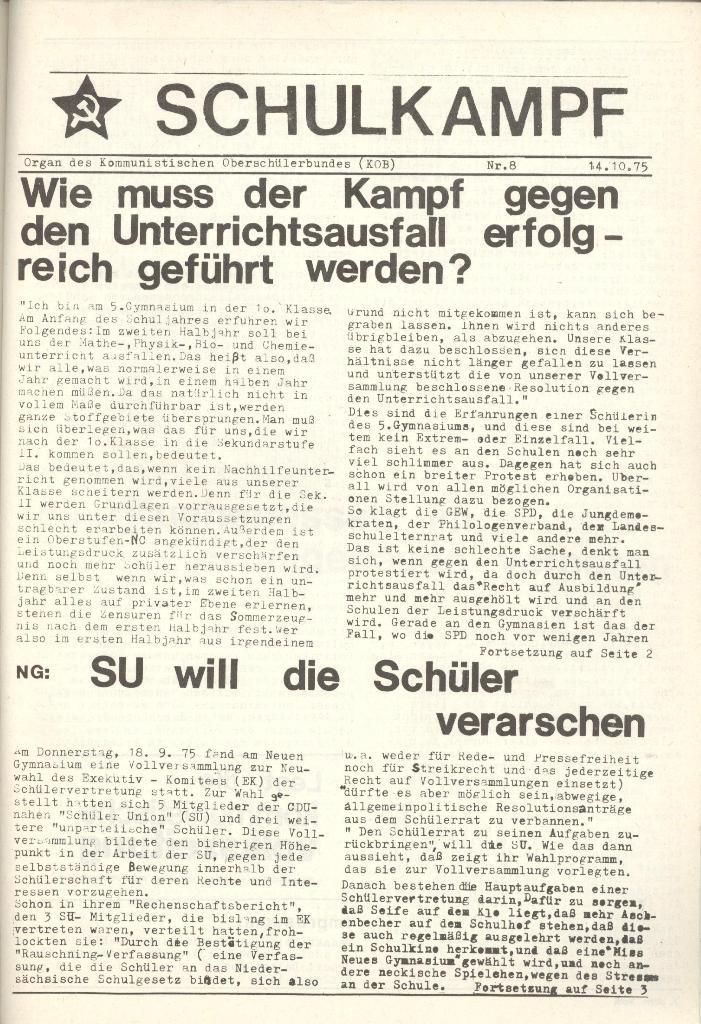 Organ des KOB Göttingen, Nr. 8, 1975, Seite 1