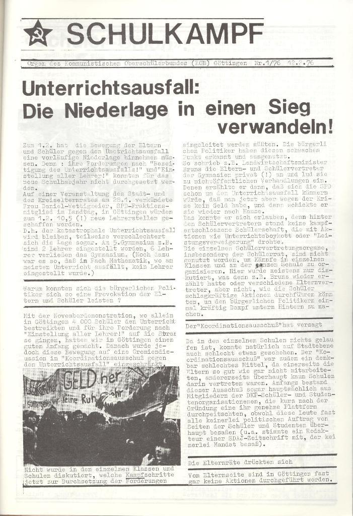 Organ des KOB Göttingen, Nr. 1, 1976, Seite 1