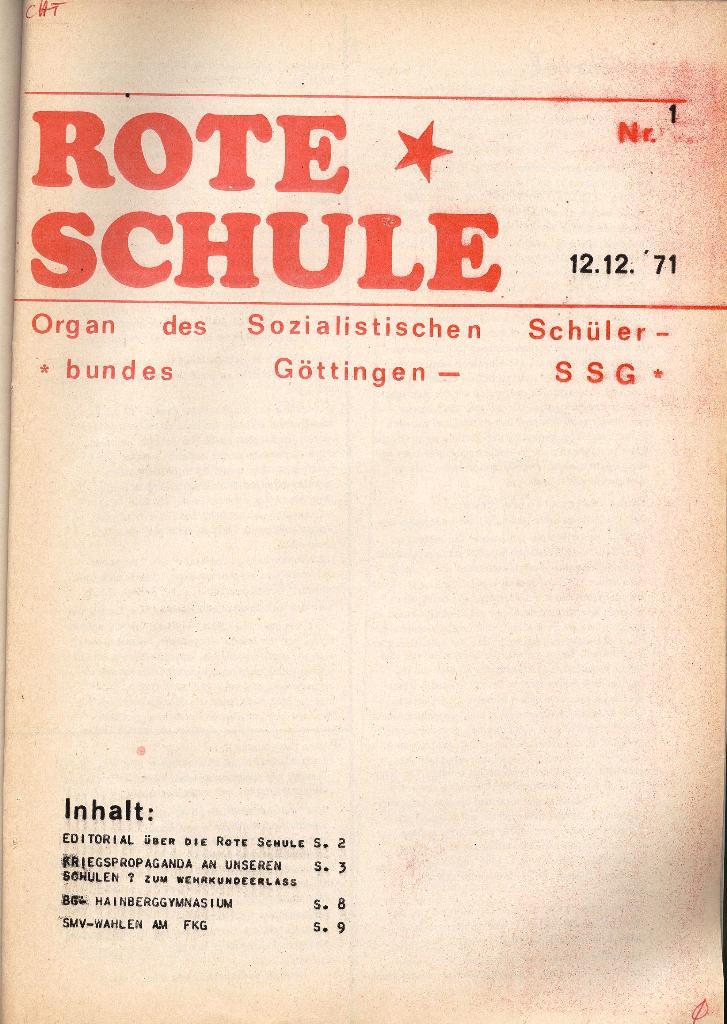 Rote Schule _ Organ des SSG, Nr. 1, 12.12.1971, Seite 1