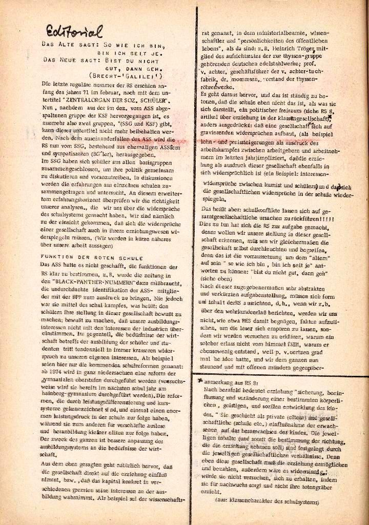 Rote Schule _ Organ des SSG, Nr. 1, 12.12.1971, Seite 2