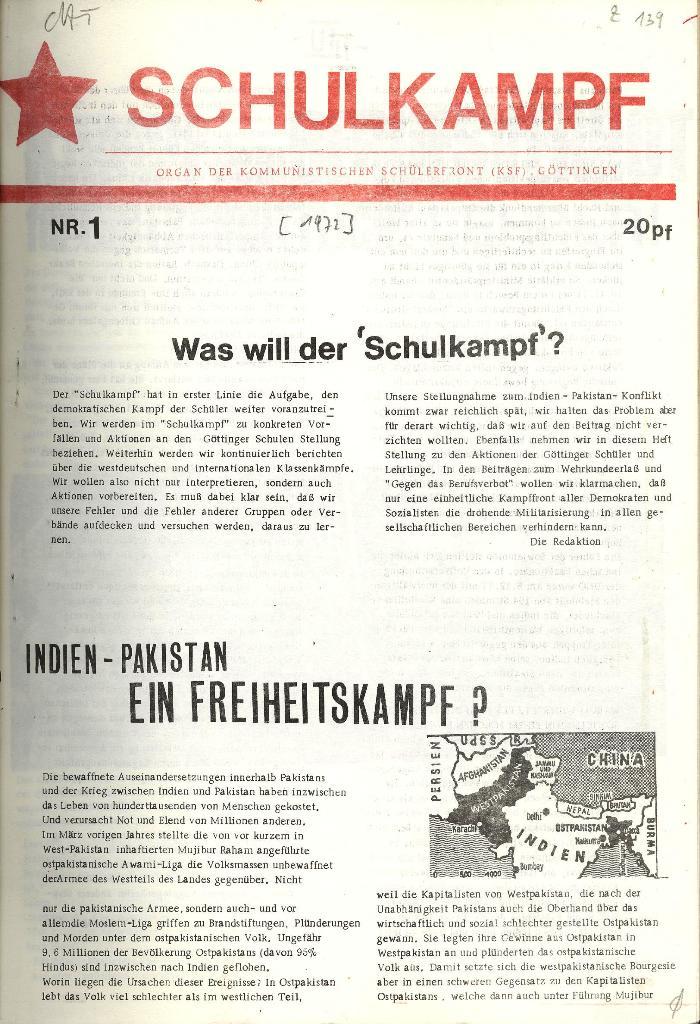 Schulkampf _ Organ der KSF, Göttingen, Nr. 1 [1972], Seite 1