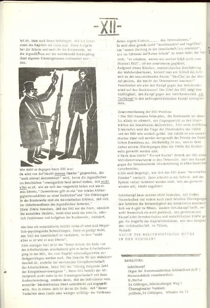Schulkampf _ Organ der KSF, Göttingen, Nr. 1 [1972], Seite 12