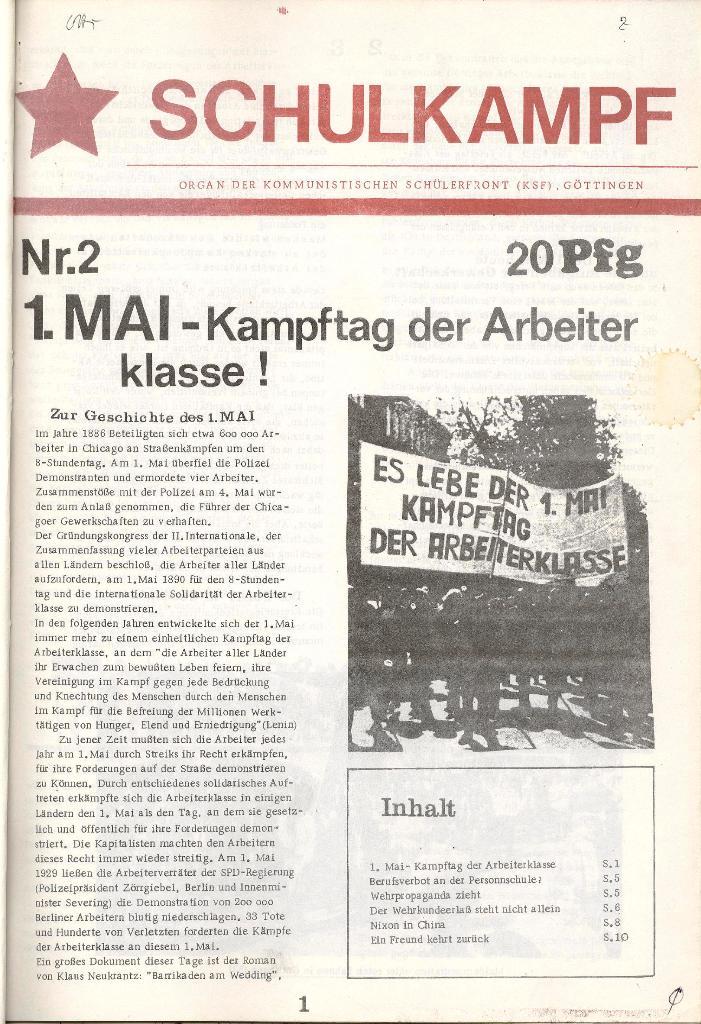 Schulkampf _ Organ der KSF, Göttingen, Nr. 2 [1972], Seite 1