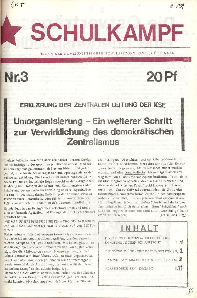 Schulkampf _ Organ der KSF, Göttingen, Nr. 3 [1972], Seite 1