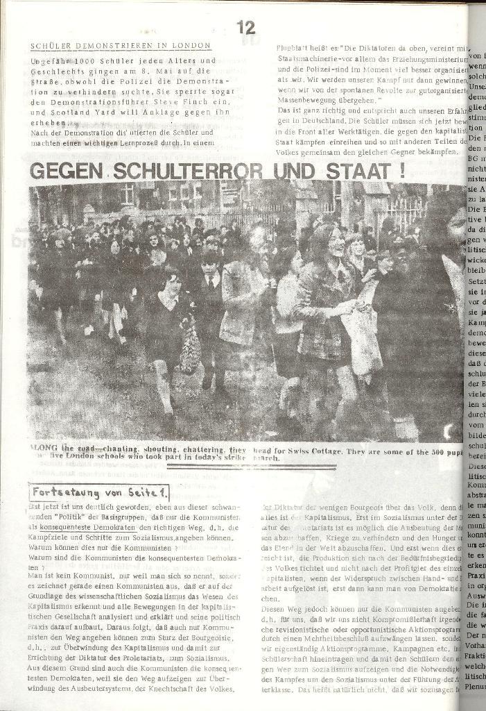 Schulkampf _ Organ der KSF, Göttingen, Nr. 3 [1972], Seite 12
