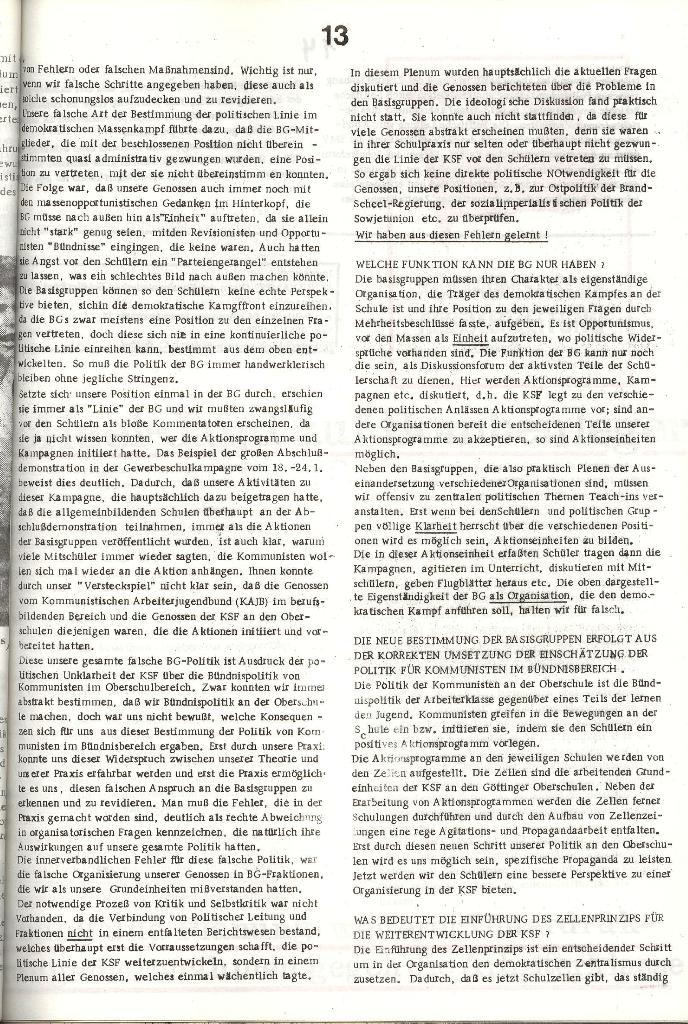Schulkampf _ Organ der KSF, Göttingen, Nr. 3 [1972], Seite 13