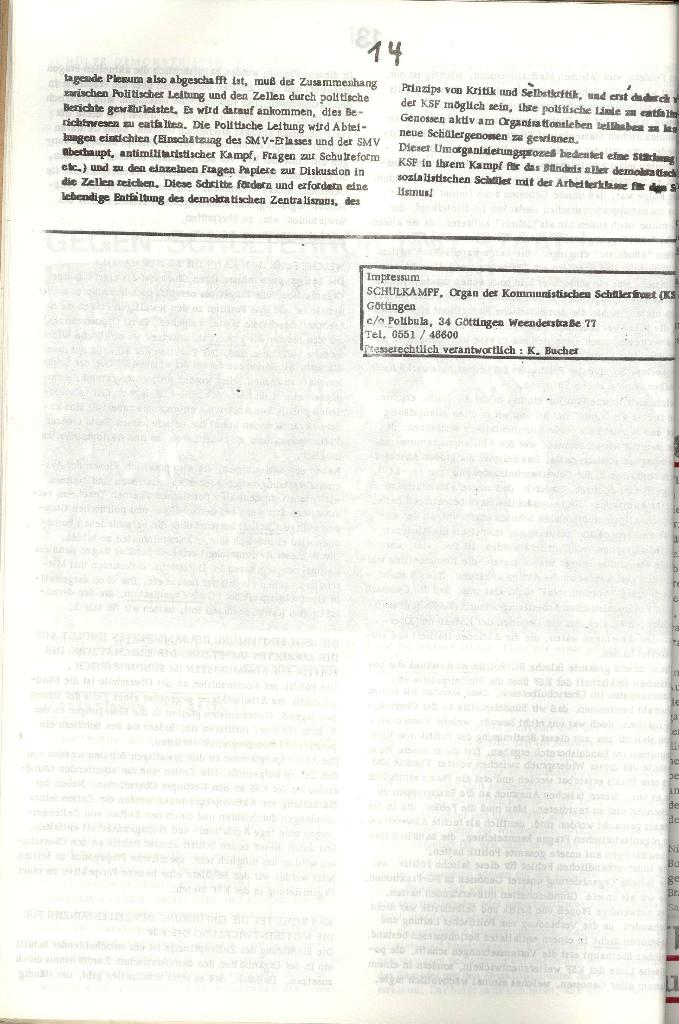 Schulkampf _ Organ der KSF, Göttingen, Nr. 3 [1972], Seite 14