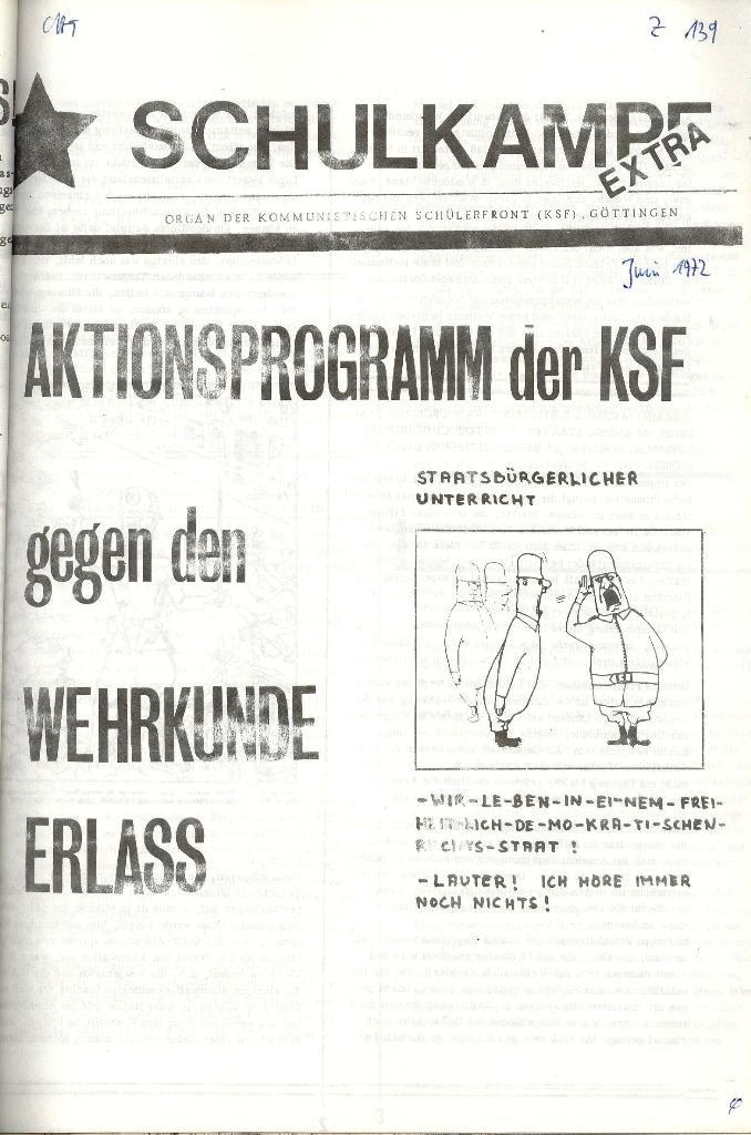 Schulkampf _ Organ der KSF, Göttingen, Extra zum WKE [Juni 1972], Seite 1