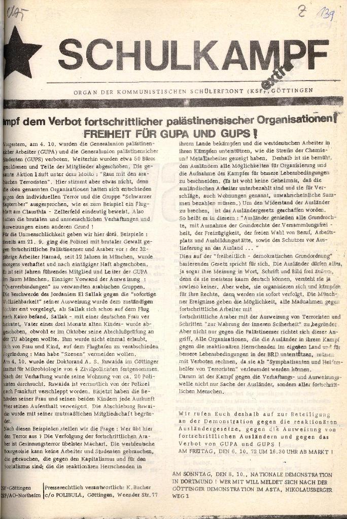 Schulkampf _ Organ der KSF, Göttingen, Extra zum GUPS/GUPA_Verbot [Okt. 1972], Seite 1