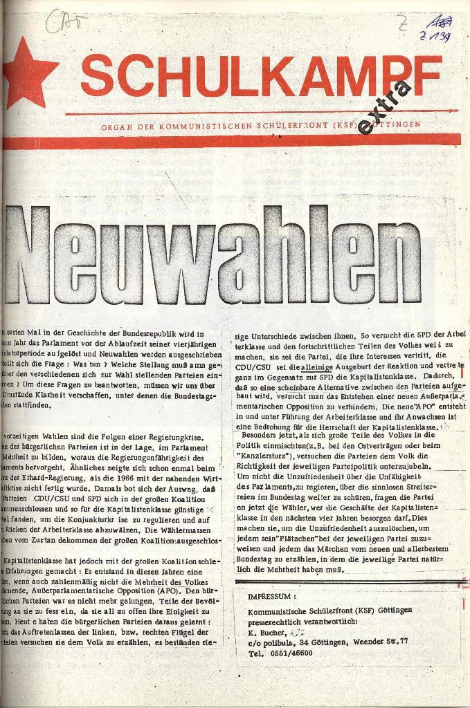 Schulkampf _ Organ der KSF, Göttingen, Extra zu Neuwahlen [Nov. 1972], Seite 1