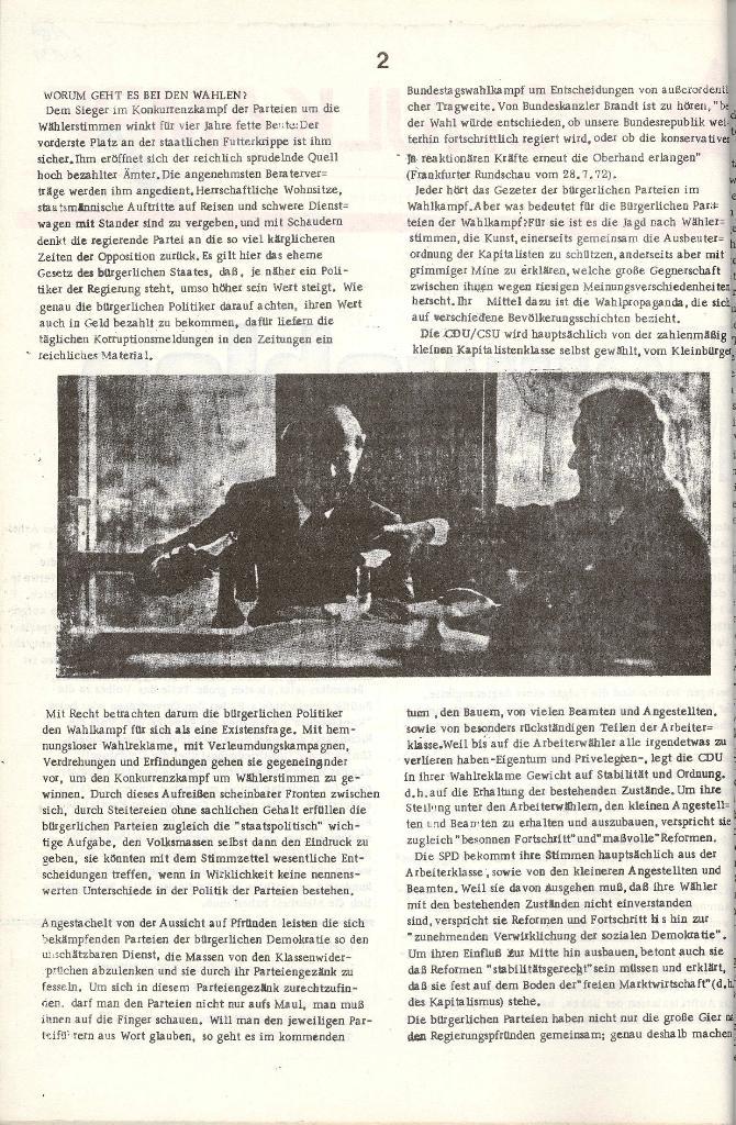 Schulkampf _ Organ der KSF, Göttingen, Extra zu Neuwahlen [Nov. 1972], Seite 2