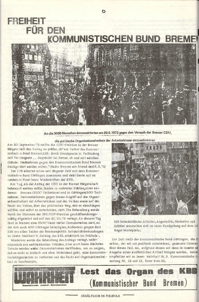 Schulkampf _ Organ der KSF, Göttingen, Extra zu Neuwahlen [Nov. 1972], Seite 6