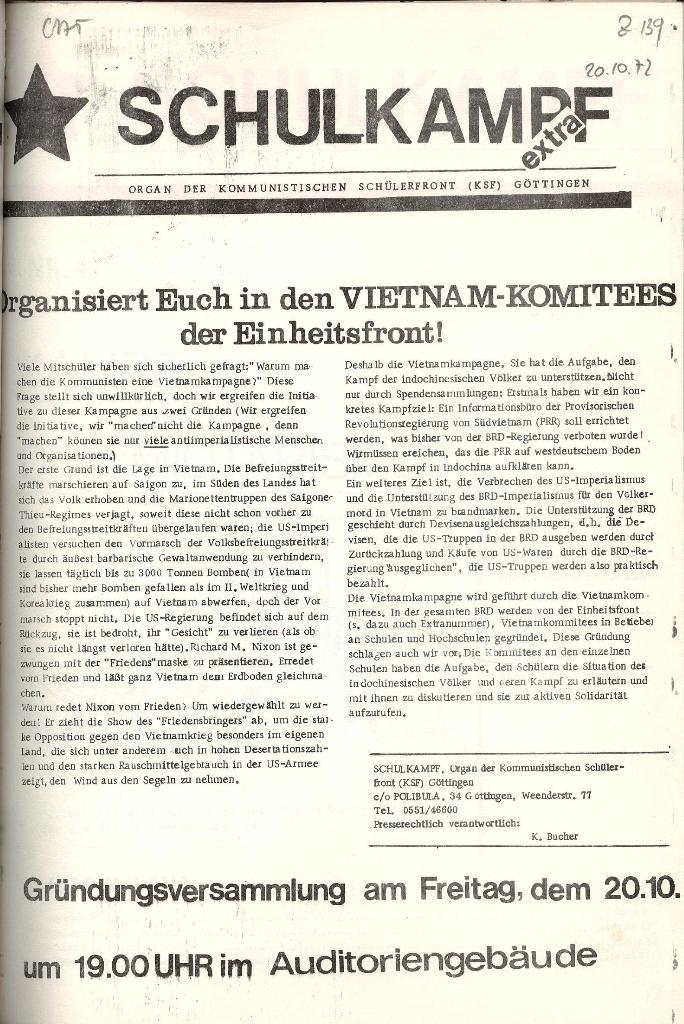 Schulkampf _ Organ der KSF, Göttingen, Extra zu Vietnam_Komitees [Okt. 1972]