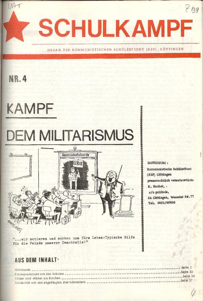 Schulkampf _ Organ der KSF, Göttingen, Nr. 4 [1973], Seite 1