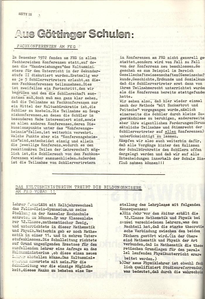 Schulkampf _ Organ der KSF, Göttingen, Nr. 4 [1973], Seite 12