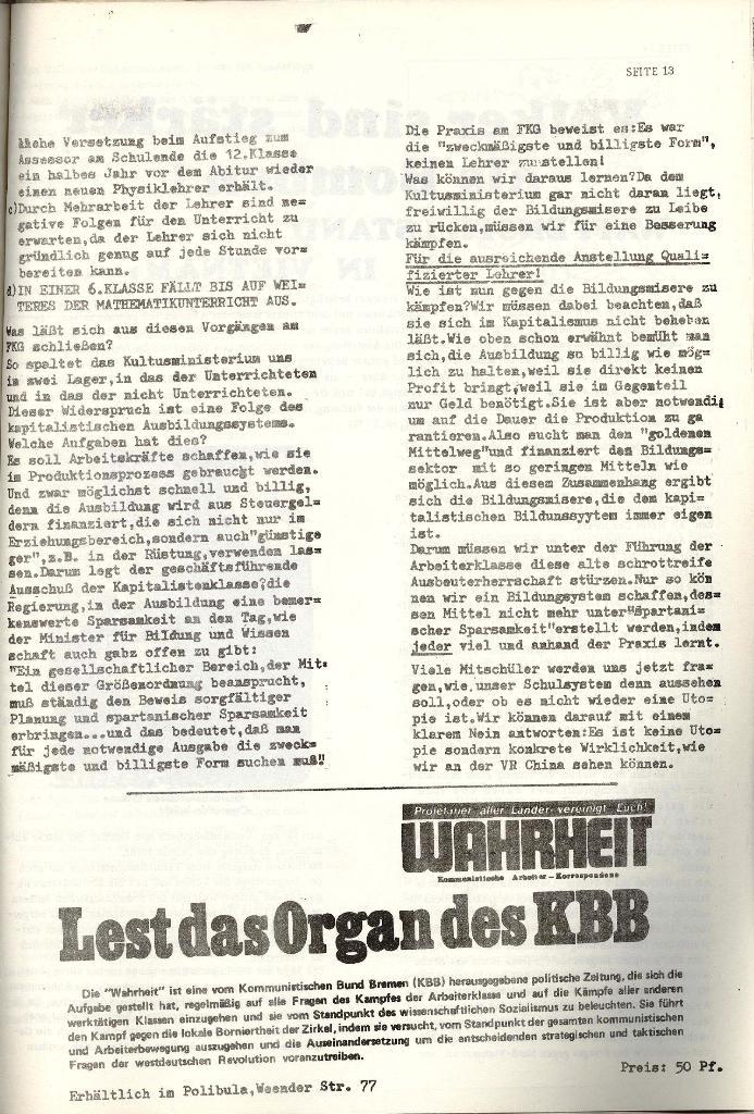 Schulkampf _ Organ der KSF, Göttingen, Nr. 4 [1973], Seite 13
