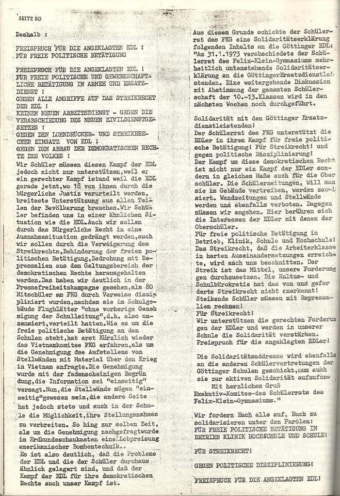 Schulkampf _ Organ der KSF, Göttingen, Nr. 4 [1973], Seite 20