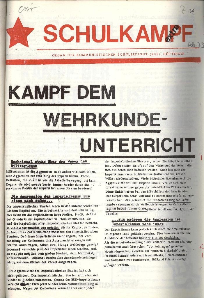 Schulkampf _ Organ der KSF, Göttingen, Extra, Wehrkundeunterricht [1973], Seite 1